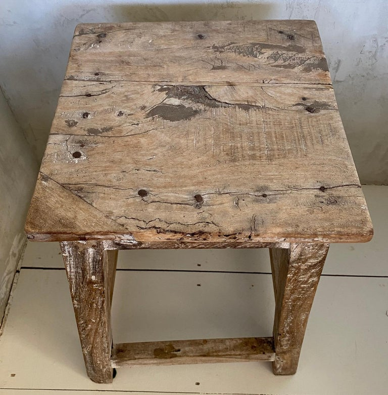 Rustic Antique Chinese Stool or Side Table For Sale 2