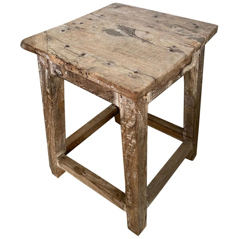 Rustic Antique Chinese Stool or Side Table For Sale