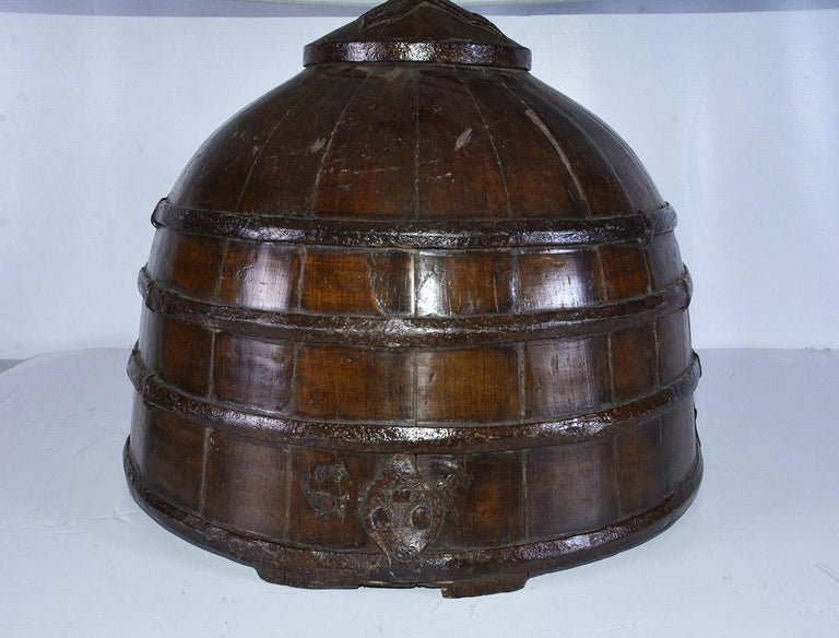 Chinese Export Rustic Antique Chinese Water Bucket Jar Shape Lamp For Sale