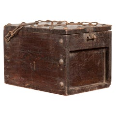 Rustic Antique Chinese Wooden Cash Box with Removable Top, Studs and Chain