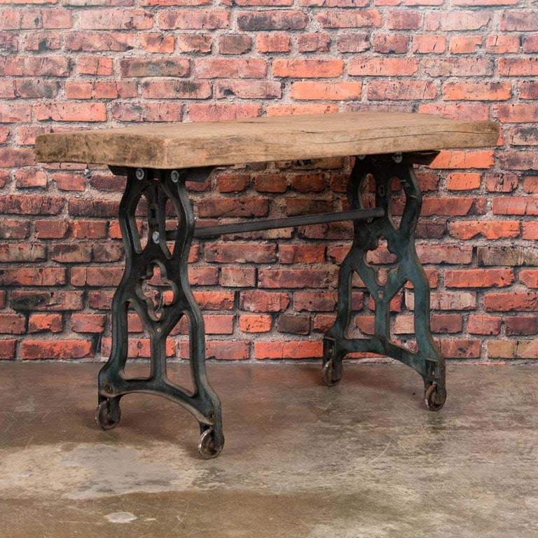 Rustic Antique Console Table With Cast Iron Legs For Sale
