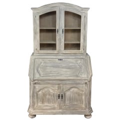 Rustic Antique Country French Hand-Crafted Stripped Oak Secretary~Bookcase