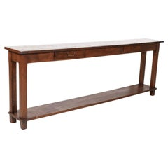 Rustic Antique Country French Oak and Pine Console Table with Drawers
