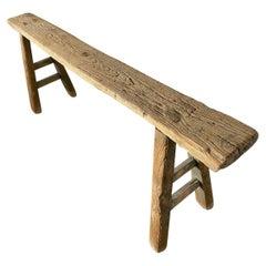Rustic Antique Elm Wood Bench
