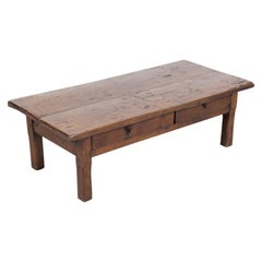 Rustic Antique French Country Solid Oak Table Basse or Coffee Table with Drawers