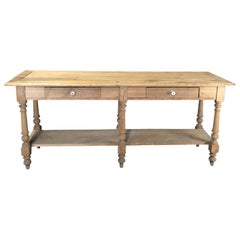 Rustic Antique French Scrubbed Pine Sideboard Sofa Table or Credenza