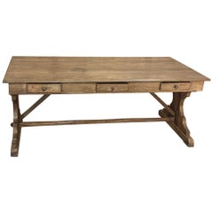Rustic Antique Heart Pine Partner's Desk, Conference Table
