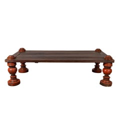 Rustic Antique Indonesian Coffee Table with Planked Top and Red Turned Orb Legs