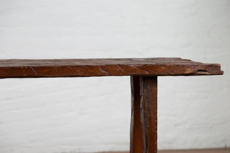 Rustic Antique Indonesian Console Table With Distressed