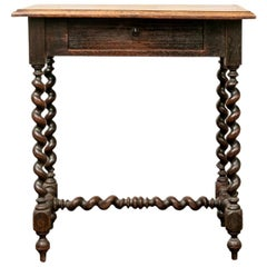 Rustic Antique Oak Barley Twist Tavern Table