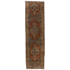 Rustic Antique Persian Bidjar Village Runner, circa 1920s