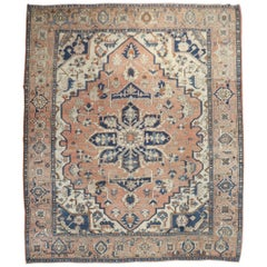Rustic Antique Persian Heriz Traditional Rug