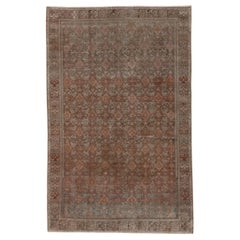 Rustic Antique Persian Malayer Rug, All-Over Brown and Blue Herati Design Field