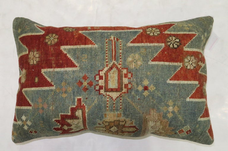 Hand-Knotted Rustic Antique Tribal Caucasian Lumbar Rug Pillow in Red and Soft Blue For Sale