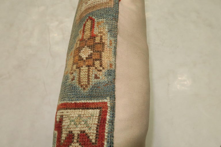 Rustic Antique Tribal Caucasian Lumbar Rug Pillow in Red and Soft Blue In Good Condition For Sale In New York, NY