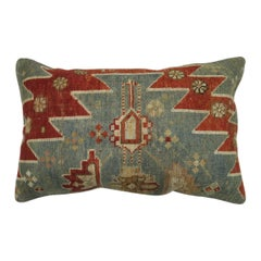 Rustic Antique Tribal Caucasian Lumbar Rug Pillow in Red and Soft Blue