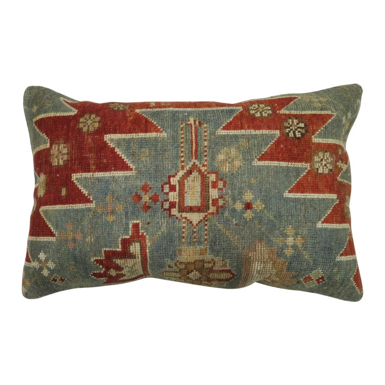 Rustic Antique Tribal Caucasian Lumbar Rug Pillow in Red and Soft Blue For Sale