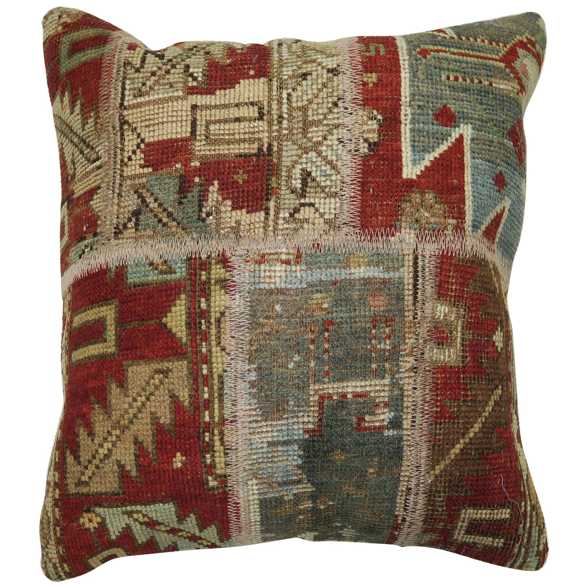 Rustic Antique Tribal Caucasian Patchwork Rug Pillow in Red and Soft Blue