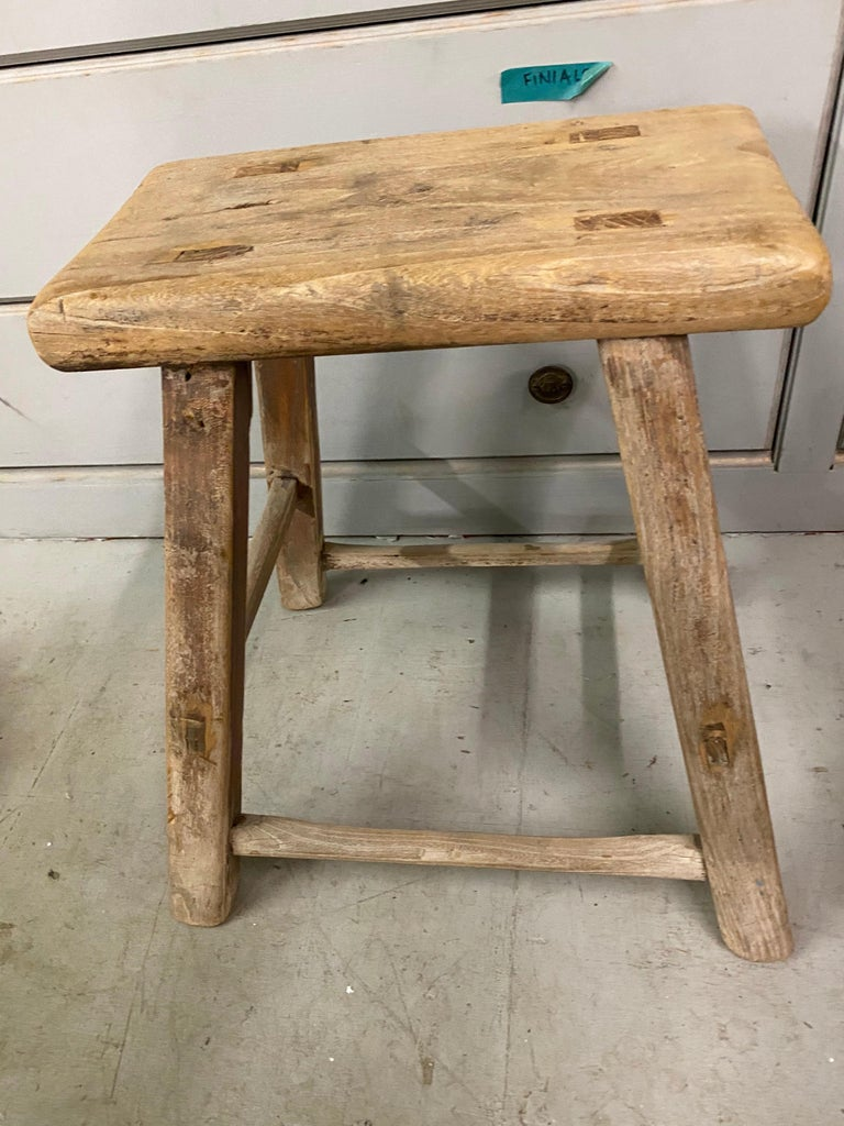 Chinese Rustic Asian Elm Stool For Sale