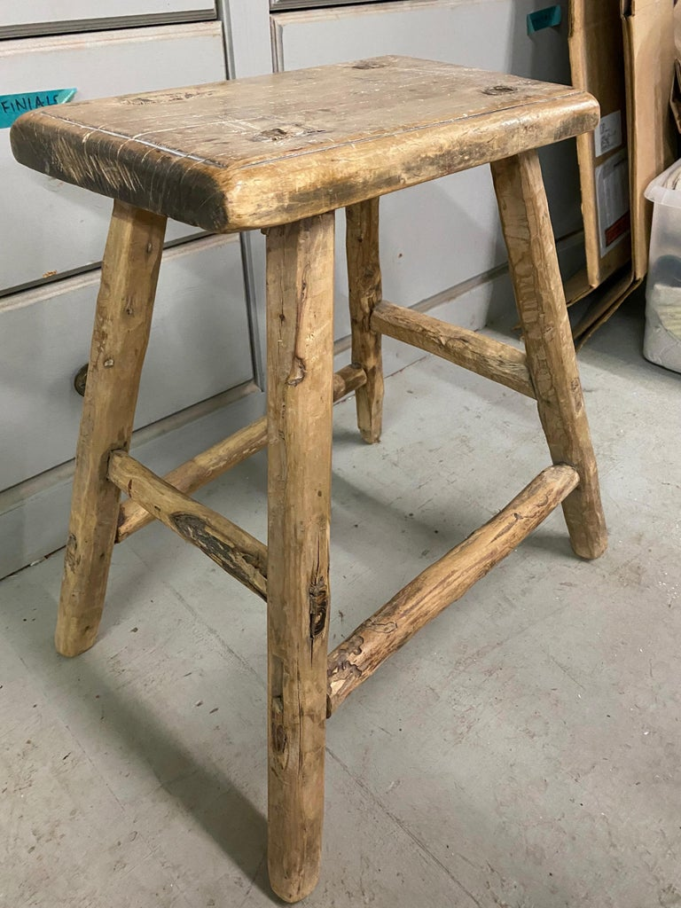 Hand-Crafted Rustic Asian Elm Stool For Sale