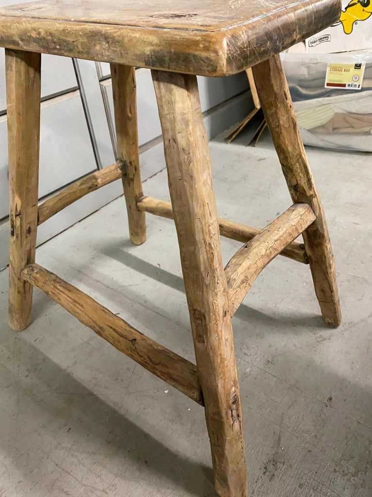 20th Century Rustic Asian Elm Stool For Sale