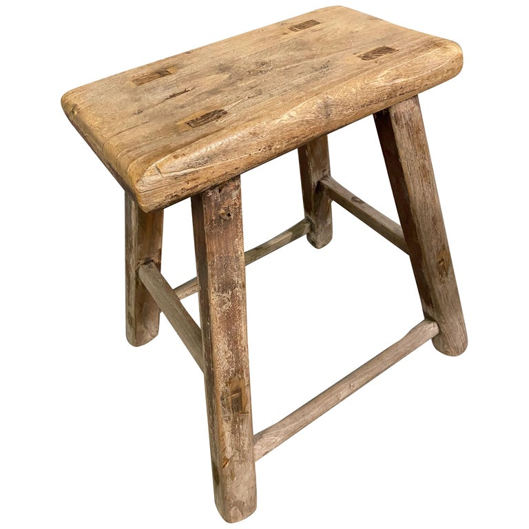 Rustic Asian Elm Stool For Sale