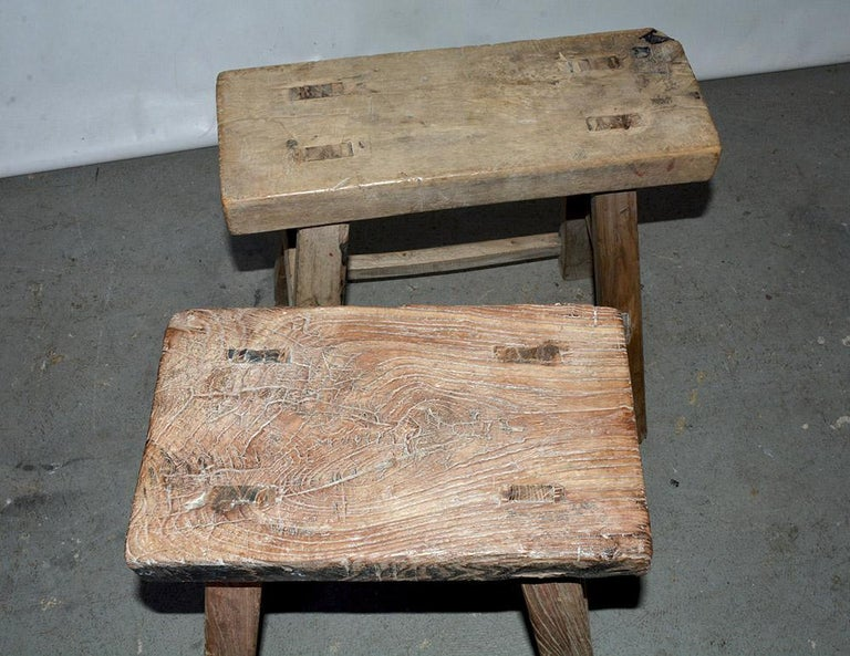 Qing Rustic Asian Stools, Sold Singly For Sale
