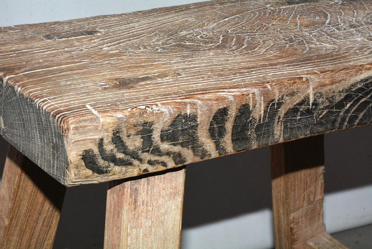 Rustic Asian Stools, Sold Singly In Good Condition For Sale In Great Barrington, MA