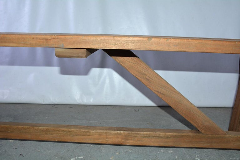 Rustic Asian Teak Wood Bench/Coffee Table For Sale 3