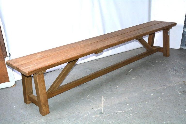 The Asian teak wood bench/coffee table lends itself to the informal settings of today's homes. Family room, porch, extra seating with the arrival of family and friends? Solidly pegged braces, legs and stretcher extends the life of the piece for many