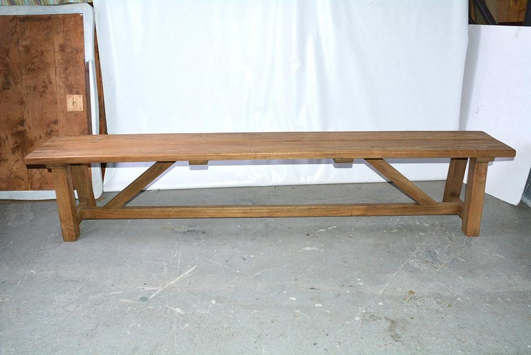 Country Rustic Asian Teak Wood Bench/Coffee Table For Sale