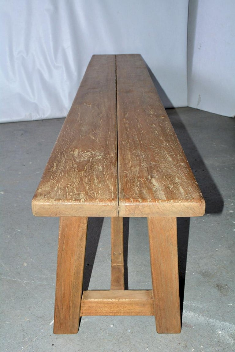 Indonesian Rustic Asian Teak Wood Bench/Coffee Table For Sale