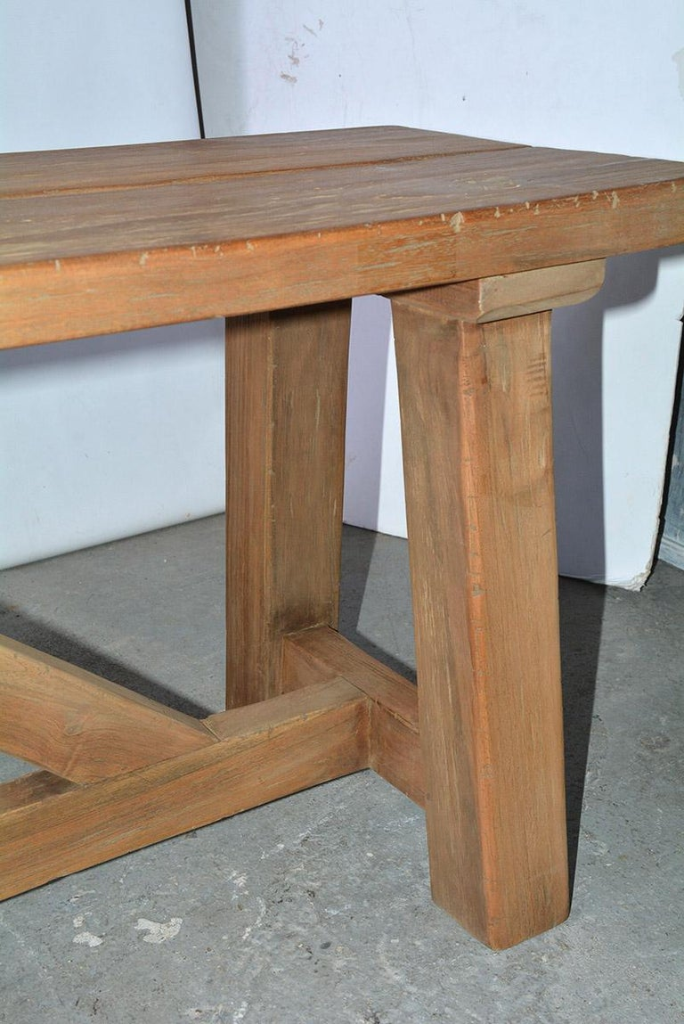 Rustic Asian Teak Wood Bench/Coffee Table In Good Condition For Sale In Great Barrington, MA