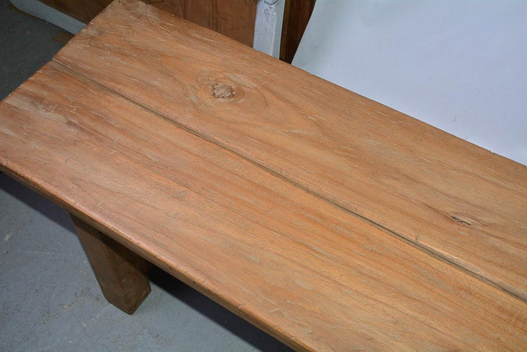 20th Century Rustic Asian Teak Wood Bench/Coffee Table For Sale