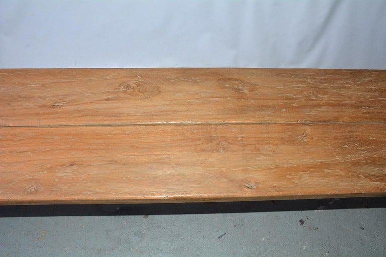 Rustic Asian Teak Wood Bench/Coffee Table For Sale 1