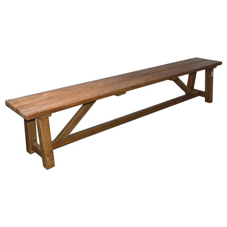 Rustic Asian Teak Wood Bench/Coffee Table For Sale