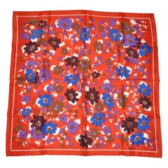 Rustic Autumn Bloom With Red Borders Scarf