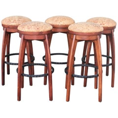 Rustic Bar Stools with Iron Foot Rest and Italian Distressed Leather, 5