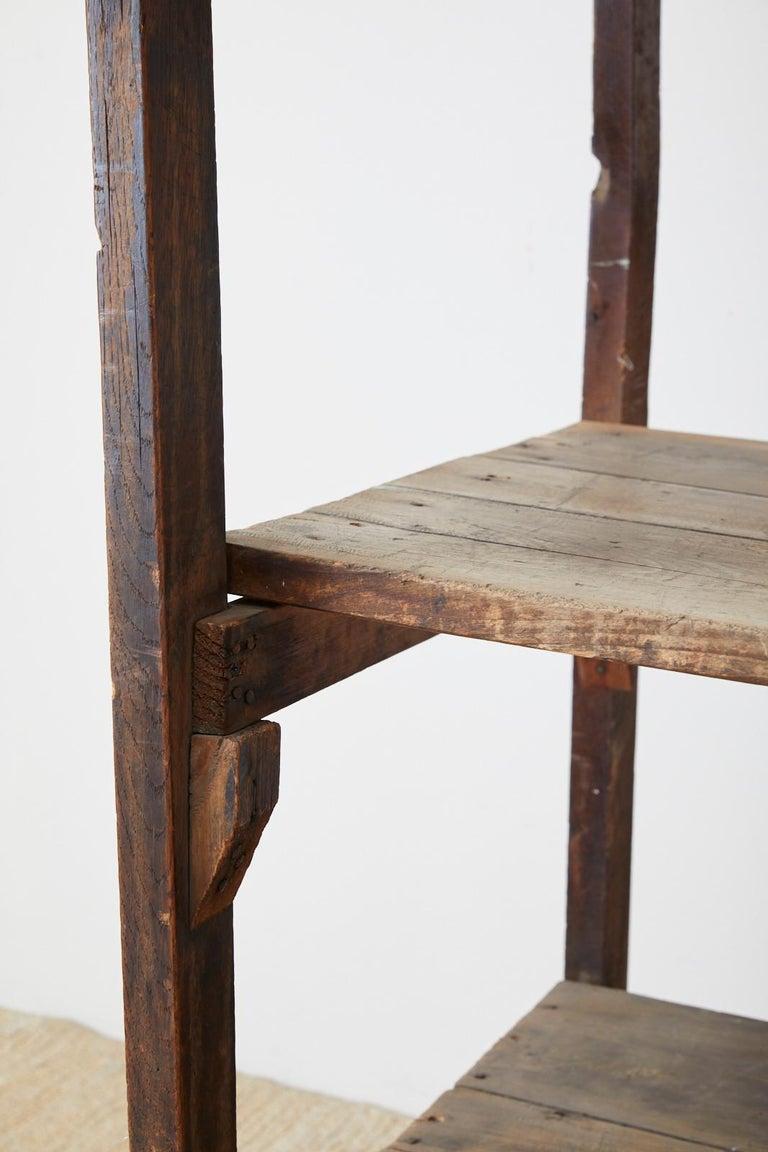 Rustic Barnwood Pine Three Shelf Display Étagère For Sale 6
