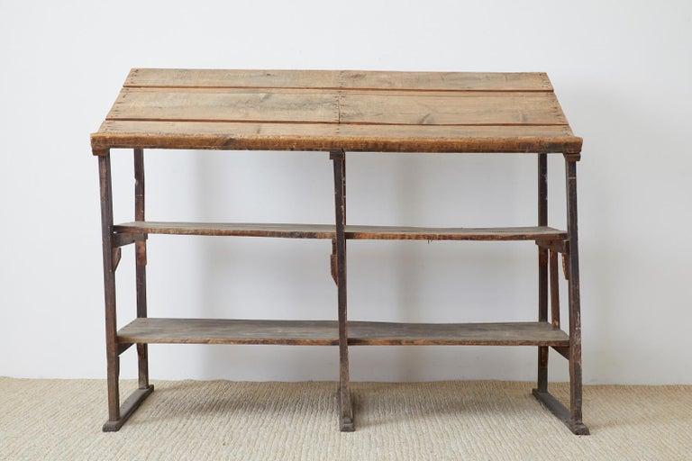 American Rustic Barnwood Pine Three Shelf Display Étagère For Sale