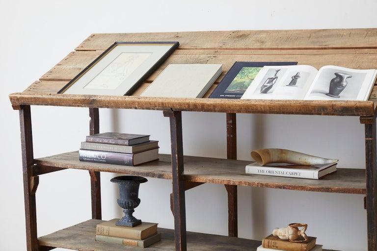 20th Century Rustic Barnwood Pine Three Shelf Display Étagère For Sale