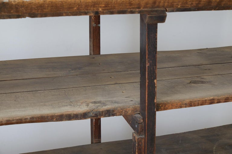 Rustic Barnwood Pine Three Shelf Display Étagère For Sale 3