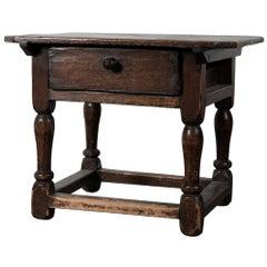 Rustic Baroque Swedish Side Table, 18th Century