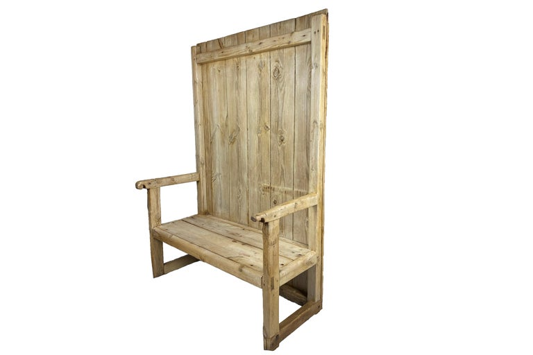 Rustic bench. Pine wood, circa 1830, Spain. Very good condition.