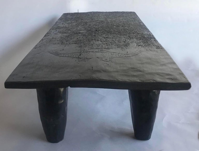 Rustic Black Coffee Table In Good Condition For Sale In Los Angeles, CA
