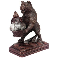 Rustic Black Forest '19th Century' Walnut Figure of Bear Holding Crystal Inkwell