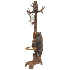 Rustic Black Forest '19th Century' Walnut Hat Rack or Umbrella Stand