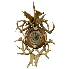 Rustic Black Forest Cabin Decor Antler Wall Clock, Germany, circa 1900