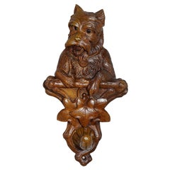 Rustic Black Forest Carved Wooden Coat Hook with Dog
