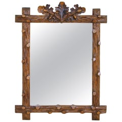 Rustic Black Forest Mirror Hand Carved, Germany, circa 1890